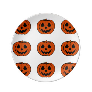 PUMPKIN PAL (Halloween Jack-O-Lantern) ~ Porcelain Plates
