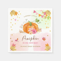 Pumpkin Paper Napkin Fall Baby shower Girl Pink