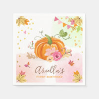 Pumpkin Paper Napkin Fall Birthday Girl Pink Gold