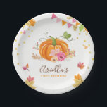 """Pumpkin Paper Plates Pink Gold Birthday Autumn<br><div class=""""desc"""">♥ A perfect addition to your party! Pumpkin theme.</div>"""