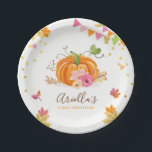 "Pumpkin Paper Plates Pink Gold Birthday Autumn<br><div class=""desc"">♥ A perfect addition to your party! Pumpkin theme.</div>"