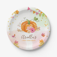 Pumpkin Paper Plates Pink Gold Birthday Autumn