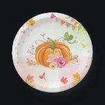 "Pumpkin Paper Plates Pink Gold Shower Autumn Fall<br><div class=""desc"">♥ A perfect addition to your party! Pumpkin theme.</div>"