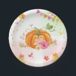 "Pumpkin Paper Plates Pink Gold Shower Autumn Fall<br><div class=""desc"">♥ A perfect addition to your party! Pumpkin theme.</div>"