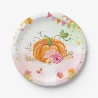 Pumpkin Paper Plates Pink Gold Shower Autumn Fall