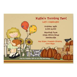 "Pumpkin Patch Birthday Girl Invitation 5"" X 7"" Invitation Card"
