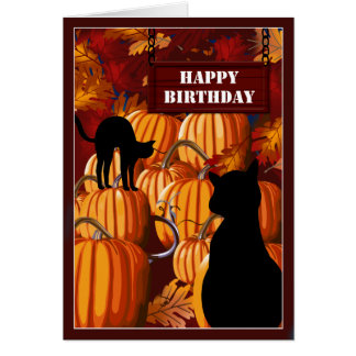 Pumpkin Patch Cats Birthday Wishes Card
