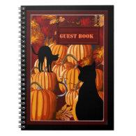 Pumpkin Patch Cats Halloween Party Guest Book Spiral Notebook