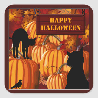 Pumpkin Patch Cats Halloween Stickers