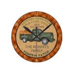 Pumpkin Patch Farm Vintage Truck Fall Plaid Rustic Round Clock