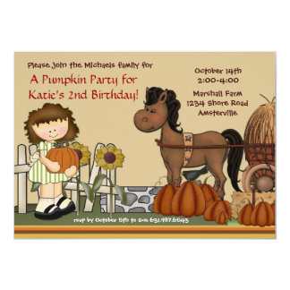 Pumpkin Patch Girl Brunette Invitation