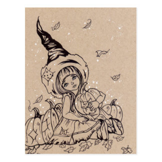 Pumpkin Patch Little Witch Halloween Postcard