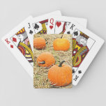 """Pumpkin Patch Playing Cards<br><div class=""""desc"""">Autumn is here and that means it's time for pumpkins. These playing cards feature a picture of four orange pumpkins sitting in a hay field. They are ripe for the picking! To see more products containing this image visit Zazzle's Photo_Genesis store.</div>"""