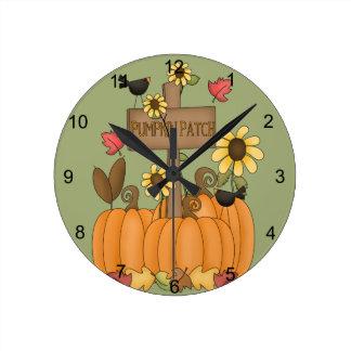 Pumpkin Patch Round Clock