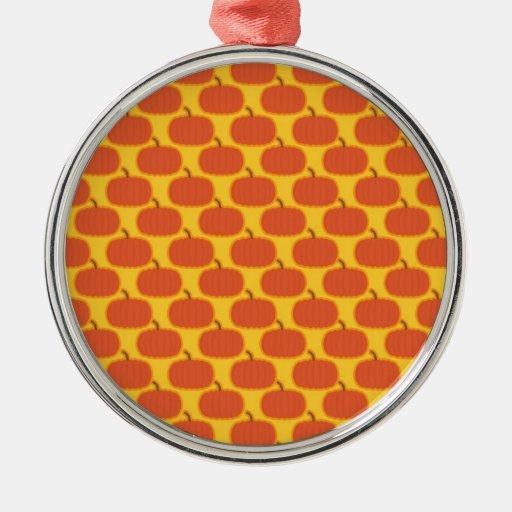 Pumpkin Patch Round Metal Christmas Ornament