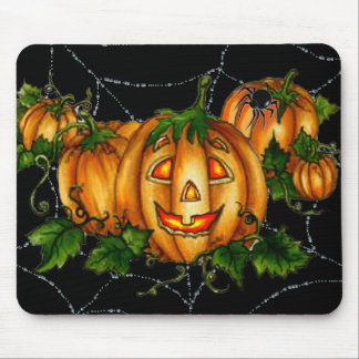 PUMPKIN PATCH & SPIDERWEB by SHARON SHARPE Mouse Pad