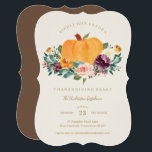 """Pumpkin Patch Thanksgiving Dinner Invitation<br><div class=""""desc"""">This fall design features autumn florals and foliage in a pumpkin basket with warm fall and neutral colors.</div>"""