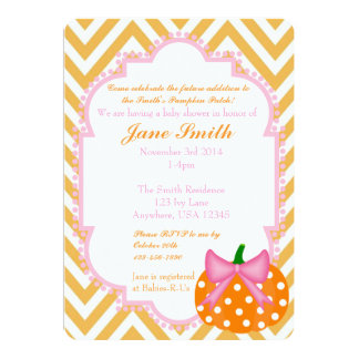 "Pumpkin Patch Themed Baby Girl Shower Invitation 5"" X 7"" Invitation Card"