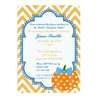 "Pumpkin Patch Themed Boy Baby Shower Invitation 5"" X 7"" Invitation Card"