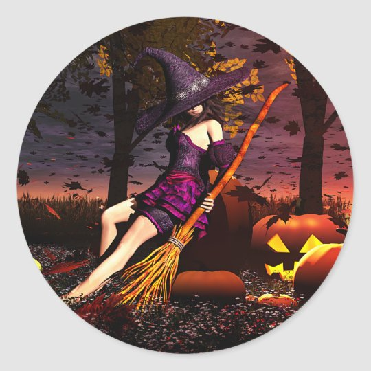 Pumpkin Patch Witch Classic Round Sticker