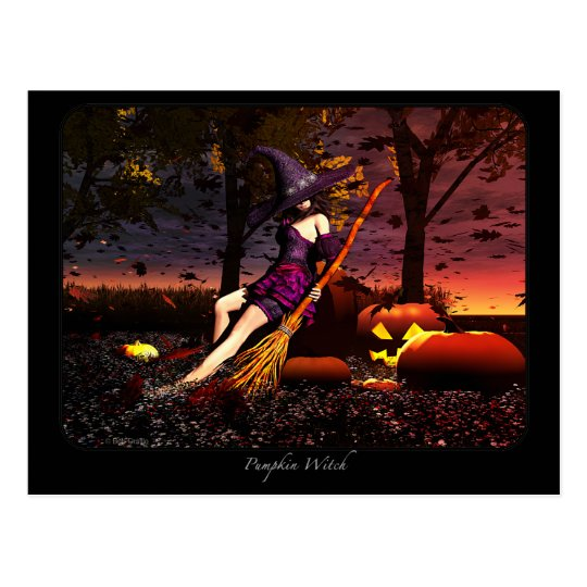 Pumpkin Patch Witch Postcard