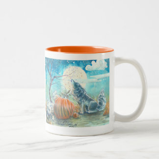 Pumpkin Patch Wolves Two-Tone Coffee Mug