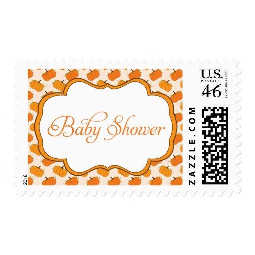Pumpkin Pattern Frame Baby Shower Postage