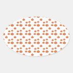 Pumpkin pattern in orange and white oval sticker