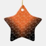 Pumpkin pattern on orange black fade Double-Sided star ceramic christmas ornament