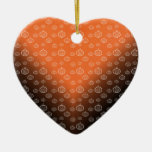 Pumpkin pattern on orange black fade Double-Sided heart ceramic christmas ornament