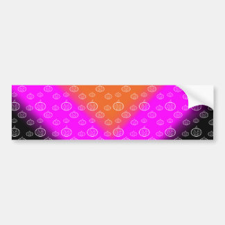 Pumpkin pattern orange pink black car bumper sticker