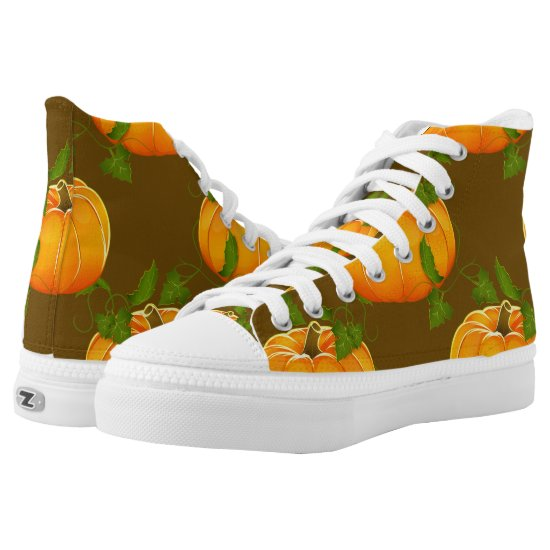 Pumpkin Patterned High-Top Sneakers