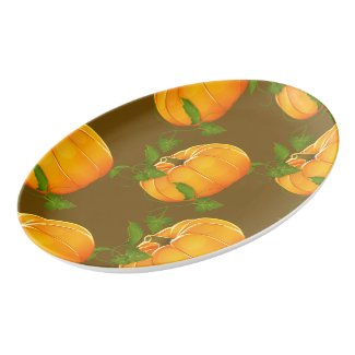 Pumpkin Patterned Porcelain Serving Platter