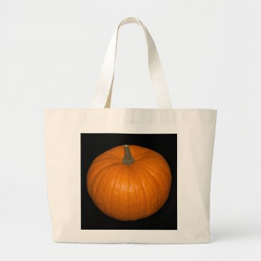 Halloween Themed Pumpkin Photo on Black Background Large Tote Bag