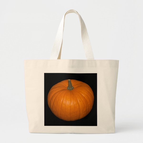 Pumpkin Photo on Black Background Large Tote Bag