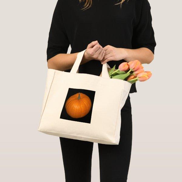 Pumpkin Photo on Black Background Mini Tote Bag