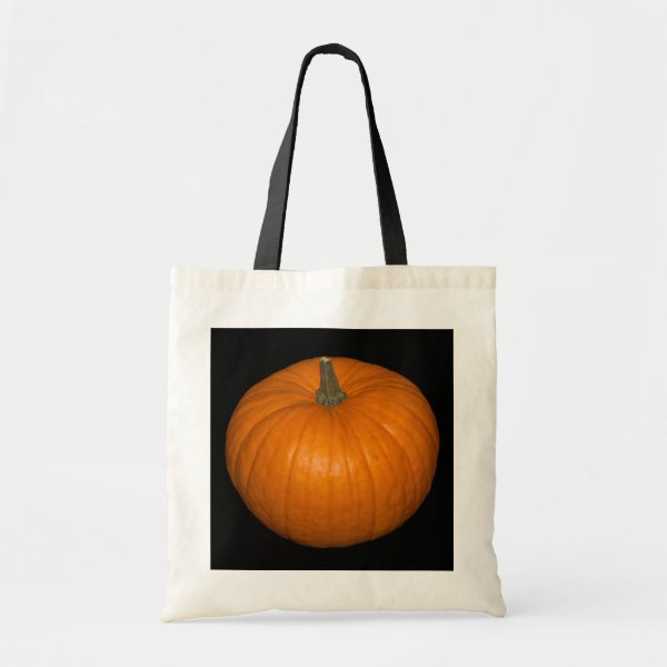 Pumpkin Photo on Black Background Tote Bag