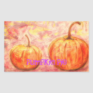 pumpkin pie art rectangle stickers