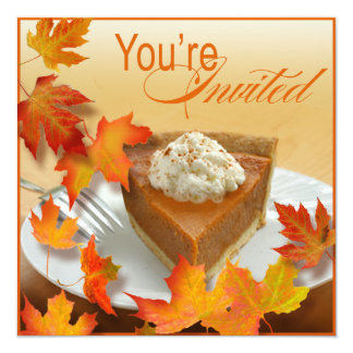 Pumpkin Pie Falling Autumn Leaves Thanksgiving Card