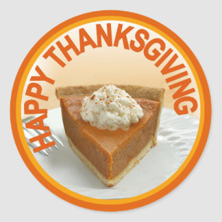 Pumpkin Pie Happy Thanksgiving Classic Round Sticker