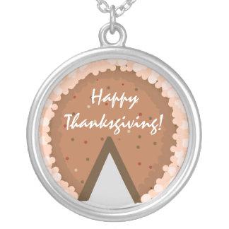 Pumpkin Pie  HappyThanksgiving! Round Pendant Necklace