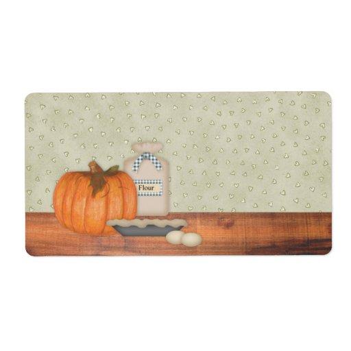 Pumpkin Pie Label