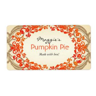 Pumpkin Pie Labels Customize