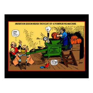 Pumpkin Pie Machine holiday postcard