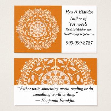 Halloween Themed Pumpkin Pie Mandala Business Card