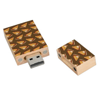 Pumpkin Pie Pattern Wood USB 2.0 Flash Drive
