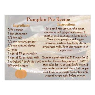 Pumpkin Pie Recipe Card