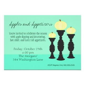 Pumpkin Pillars in Aqua Invitations