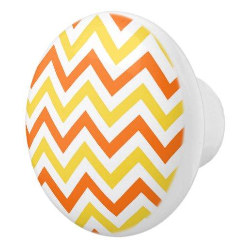 Pumpkin Pineappe White Lg Chevron Zigzag Pattern Ceramic Knob Zazzle