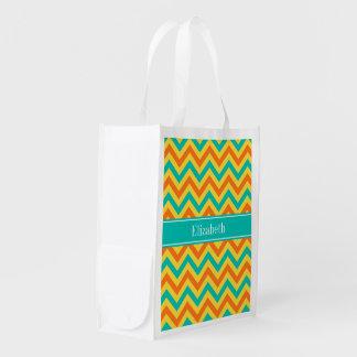 Pumpkin Pineapple Teal LG Chevron ZigZag Monogram Grocery Bag